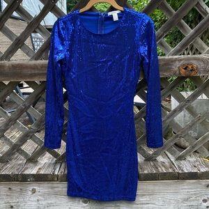 F21 blue sequin dress